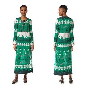 YIGAL AZROUEL Green Embroidered Maxi Caftan Dress